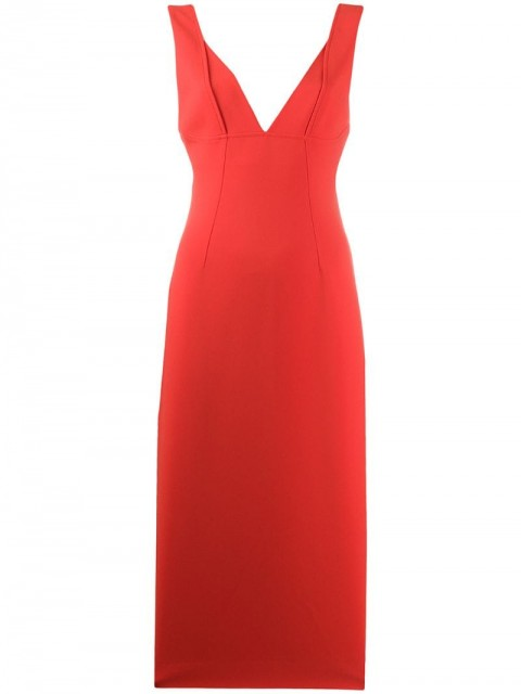 Victoria Beckham - v-neck fitted dress - women - Polyester/Triacetate - 8 - Red