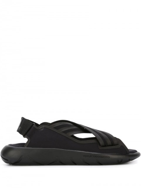 Y-3 - crisscross sandals - women - Rubber/Cotton - 8,5 - Black