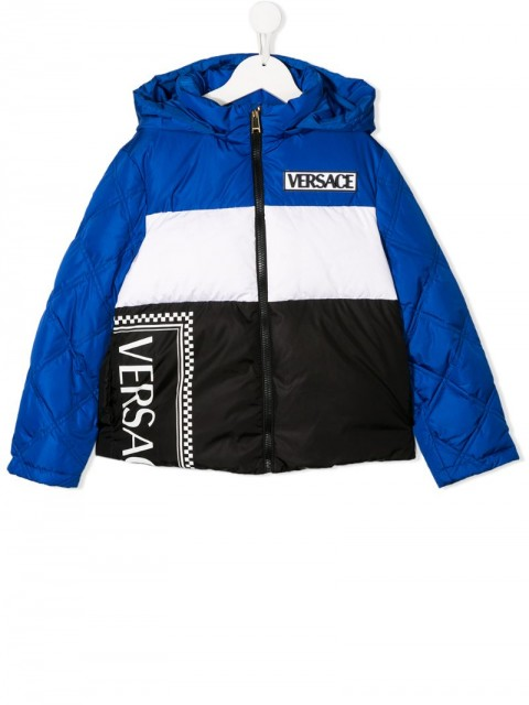 Young Versace - padded colour blocked jacket - kids - Polyamide/Cotton/Feather Down/Polyester - 6 yrs, 8 yrs, S - Blue