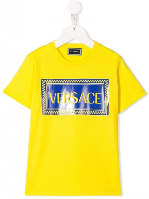 Young Versace - printed logo T-shirt - kids - Cotton - 8 yrs - yellow
