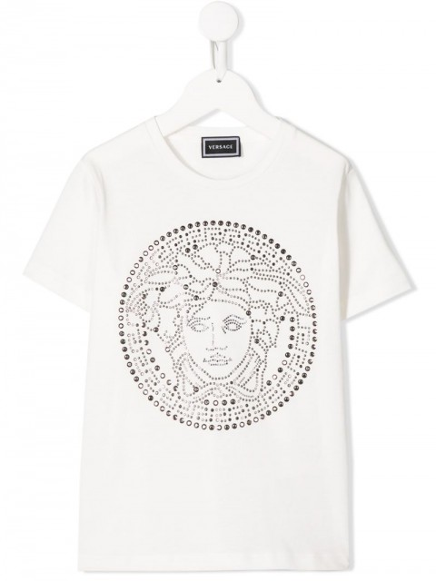 Young Versace - embellished Medusa head T-shirt - kids - Cotton - 6 yrs, 8 yrs - White