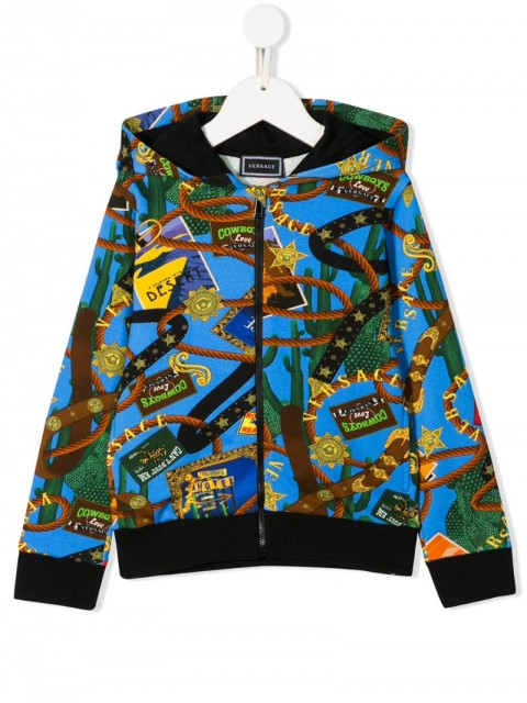 Young Versace - graphic-print zipped hoodie - kids - Cotton - 8 yrs, S - Blue