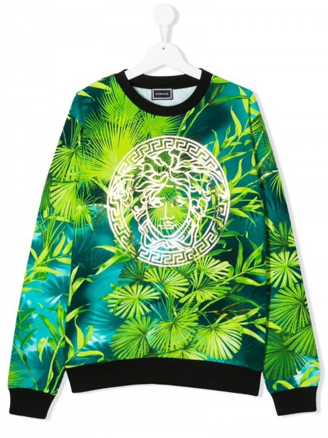 Young Versace - long sleeve Medusa print sweater - kids - Cotton - L - Green