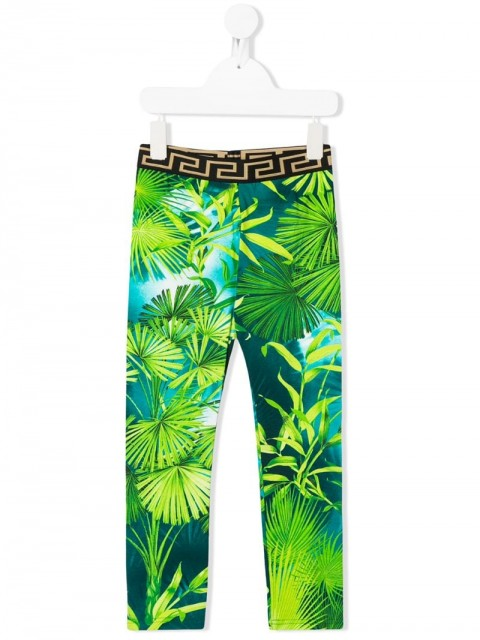 Young Versace - palm print leggings - kids - Cotton/Spandex/Elastane - 8 yrs, 5 yrs, 6 yrs - Green