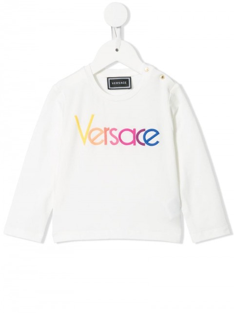 Young Versace - embroidered logo jumper - kids - Cotton - 12, 18, 36 - White