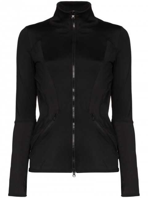 adidas by Stella McCartney - ESS midlayer zipped top - women - Spandex/Elastane/Recycled Polyester - XS - Black
