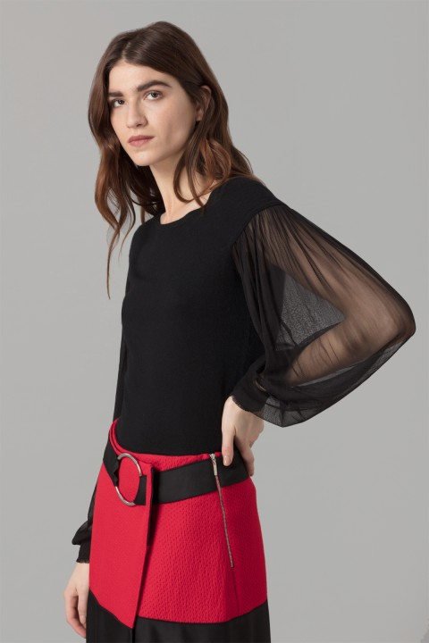 Black Jumper With Silk Sleeve