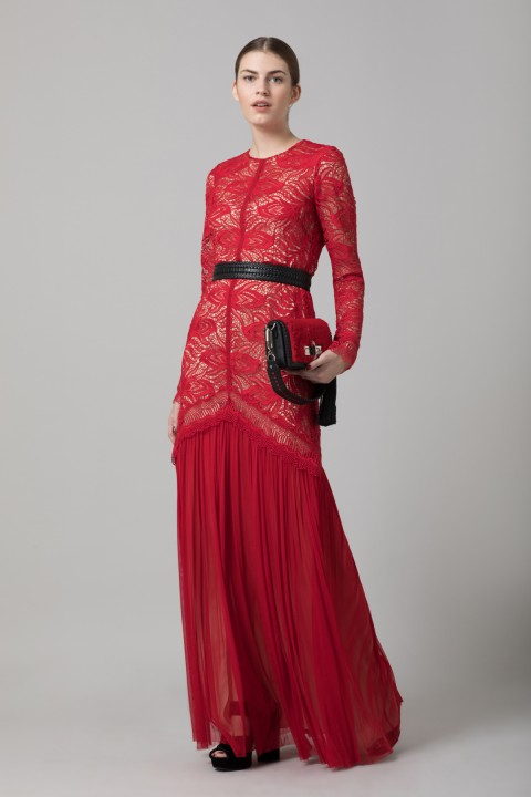 Red Paisley Lace Dress