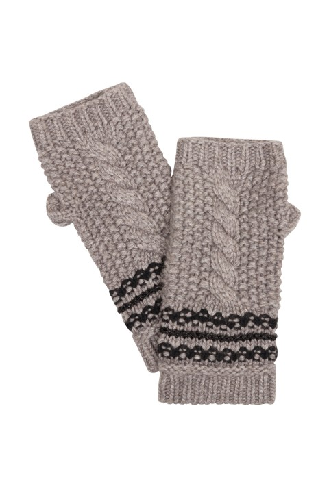 Amanda Wakeley Taupe Cable Knit  Gloves