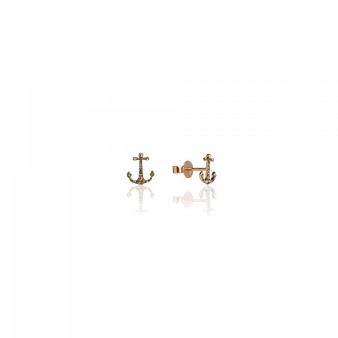 Love Diamonds Anchor Earrings