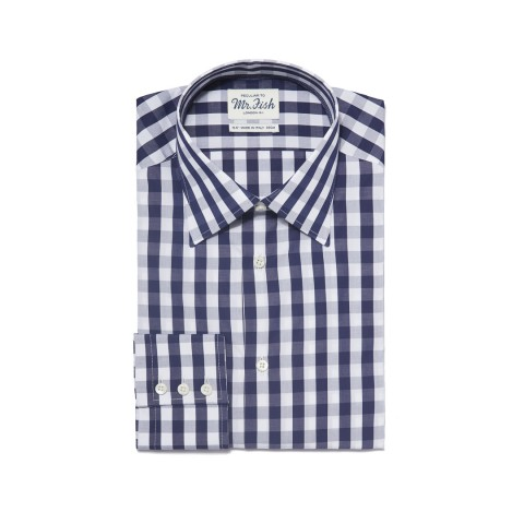MR FISH Navy and White Gingham Check Shirt