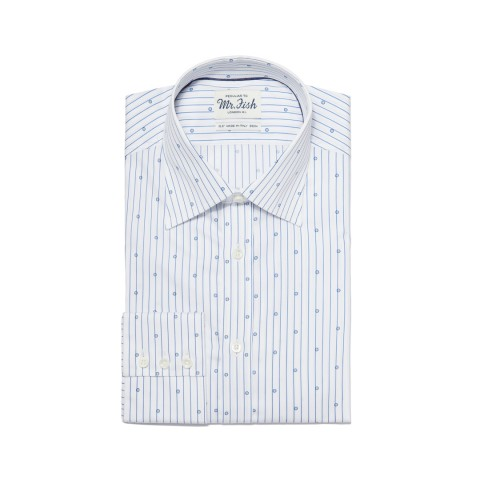 MR FISH Blue and White Spotted Pinstripe Shirt