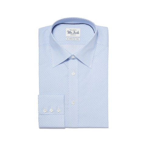 MR FISH Blue and White Reverse Polka Dot Shirt