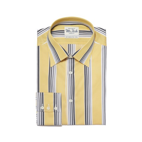 MR FISH Black and Yellow Gradation Stripe Shirt